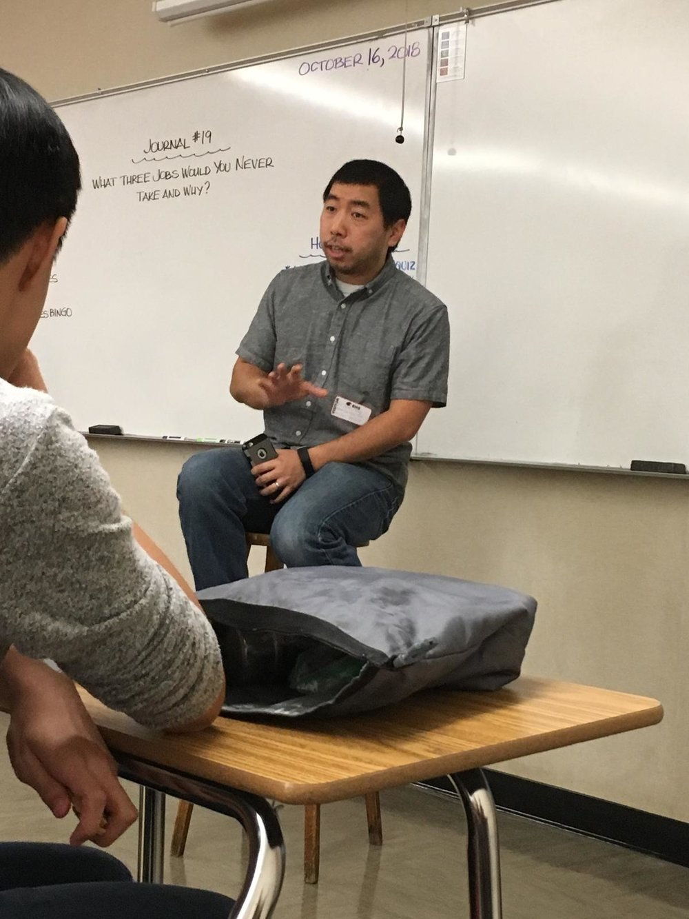 Guest speaker, Pastor Jeremy Wong, talks to the club about identity