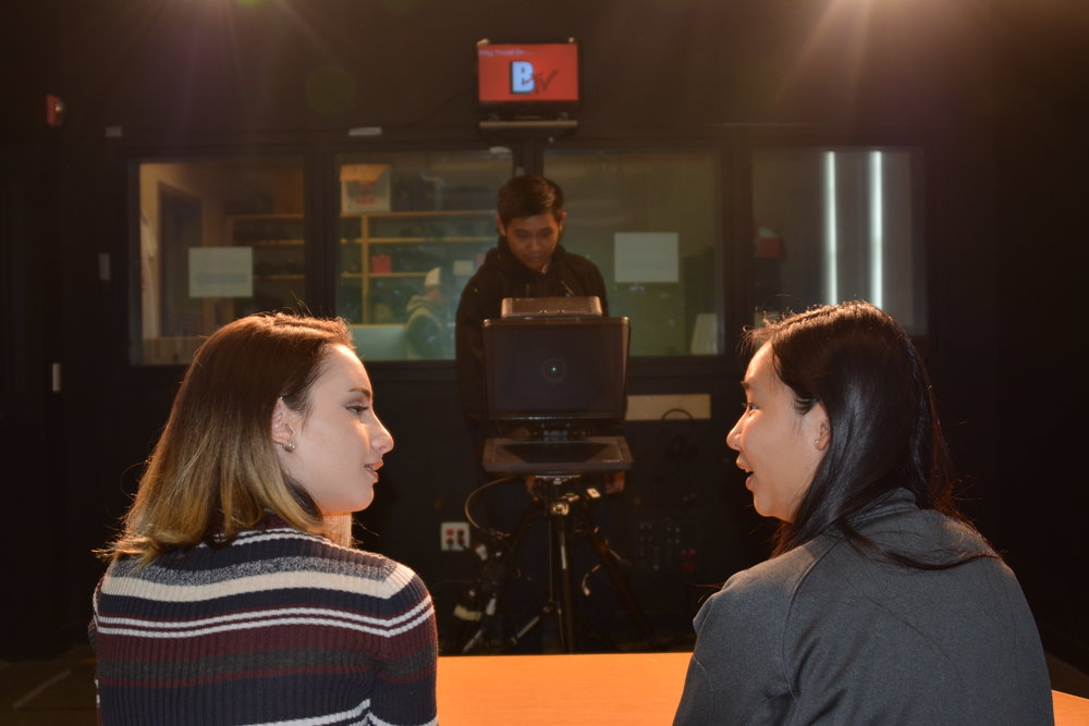 Ernest Law films Connie Nong and Giulia Pugliese for the next episode of BTV