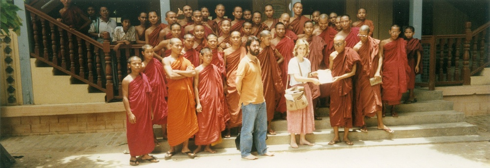 Barb, producer Jake Haselkorn, and the Burmese monks of Mandalay