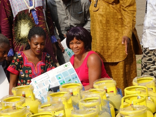 Participants in GLPGP's Bottled Gas For Better Life pilot project in Batoke village, southwest Cameroon, queuing to receive an LPG stove and cylinder.