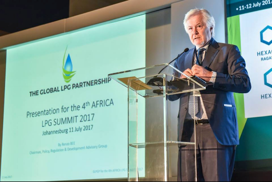 Mr. Renzo Bee presents on increasing LPG accessibility and affordability at the African LPG Summit in johannesburg, south africa, July 2017.