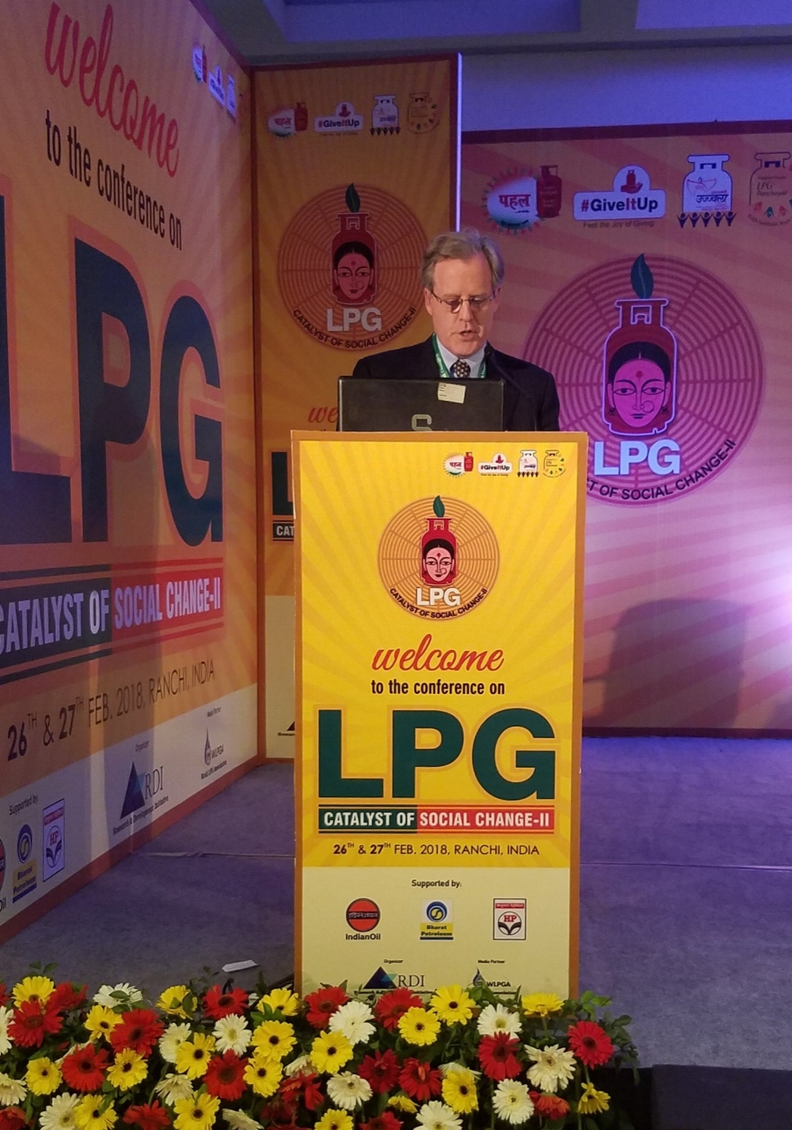 Mr. John Hauge speaks at the LPG: Catalyst for Social CHange Conference in Ranchi, India, February 2018.