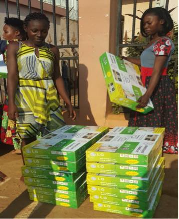 Equipment distribution to participants in Bafia, Cameroon.