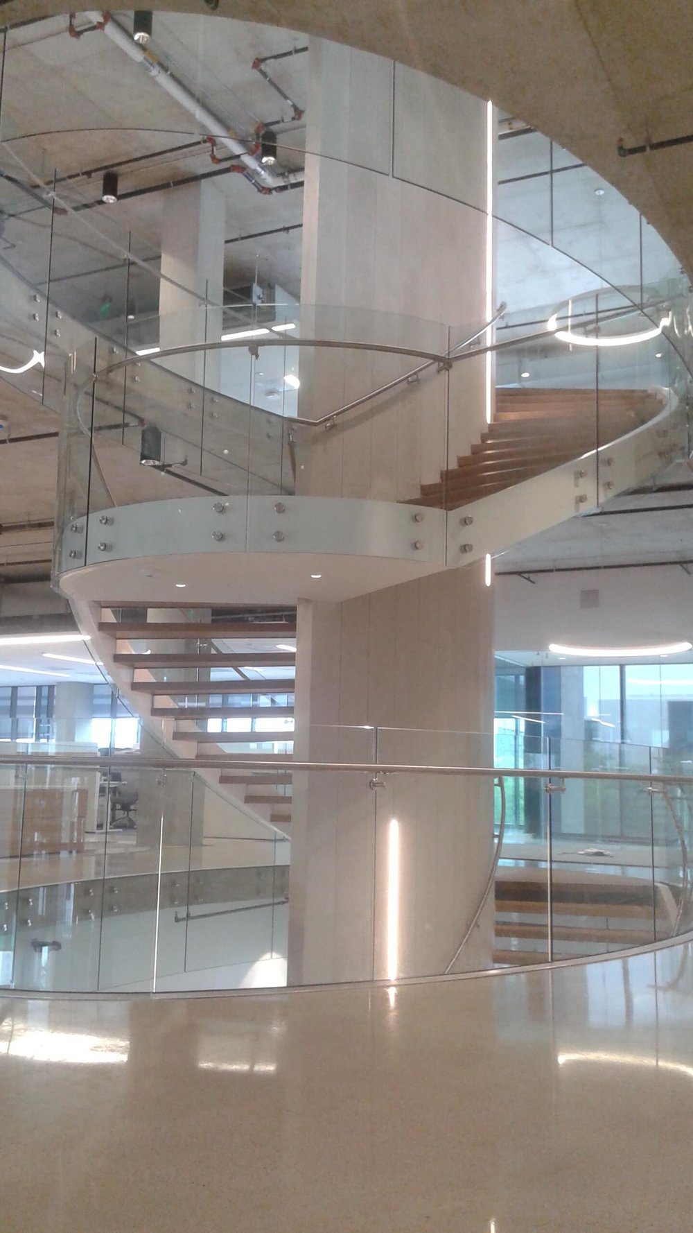 From The Field: Curved Glass, Point Supported Spiral Staircase U2014 ACS  Railings