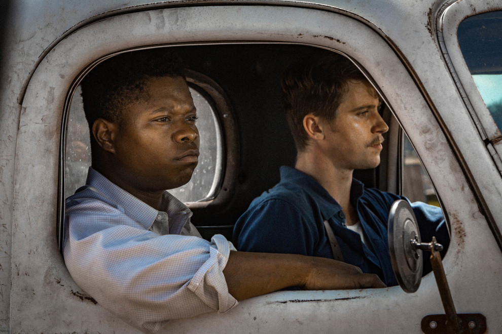 Jason Mitchell as Ronsel Jackson and Garrett Hedlund as Jamie McAllan, brothers-in-arms who return from WWII to face very different welcomes in Jim Crow Mississippi. Photo by Steve Dietl.