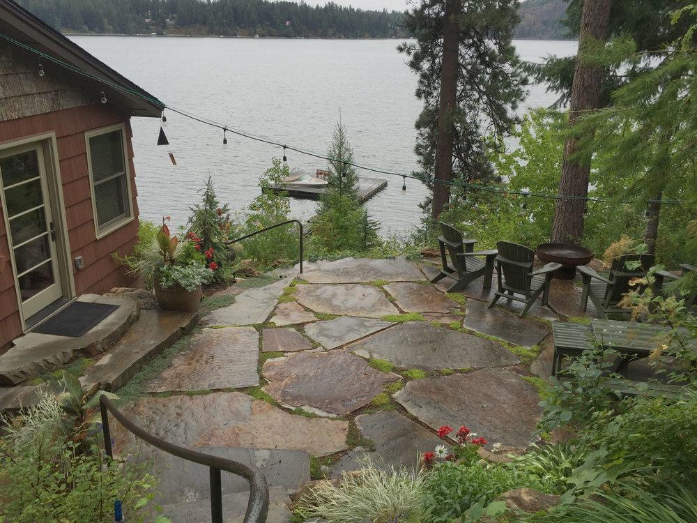 lake cabin patio landscaping