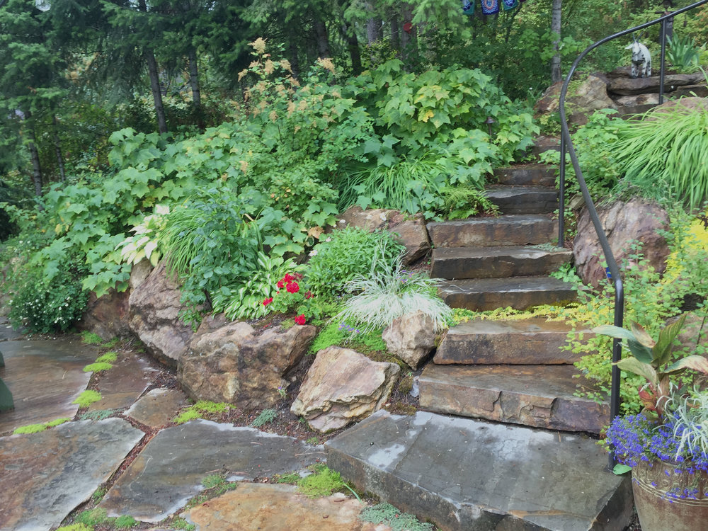 kootenai county retaining wall and stone steps