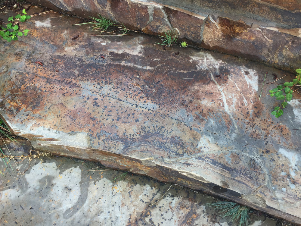 crystal dendrites in montana stone steps