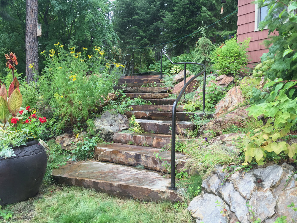 stone steps for lake access