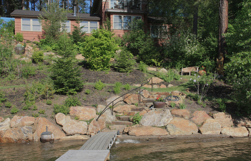 landscaping for lakefront dock access