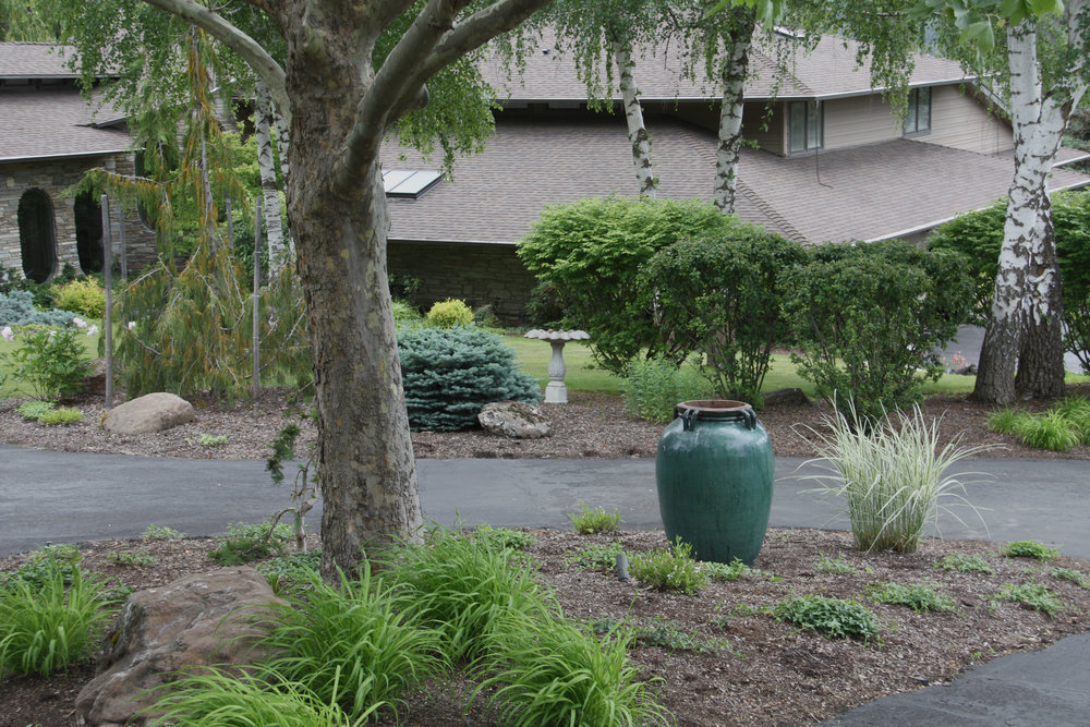 spokane estate landscaping and blue urn