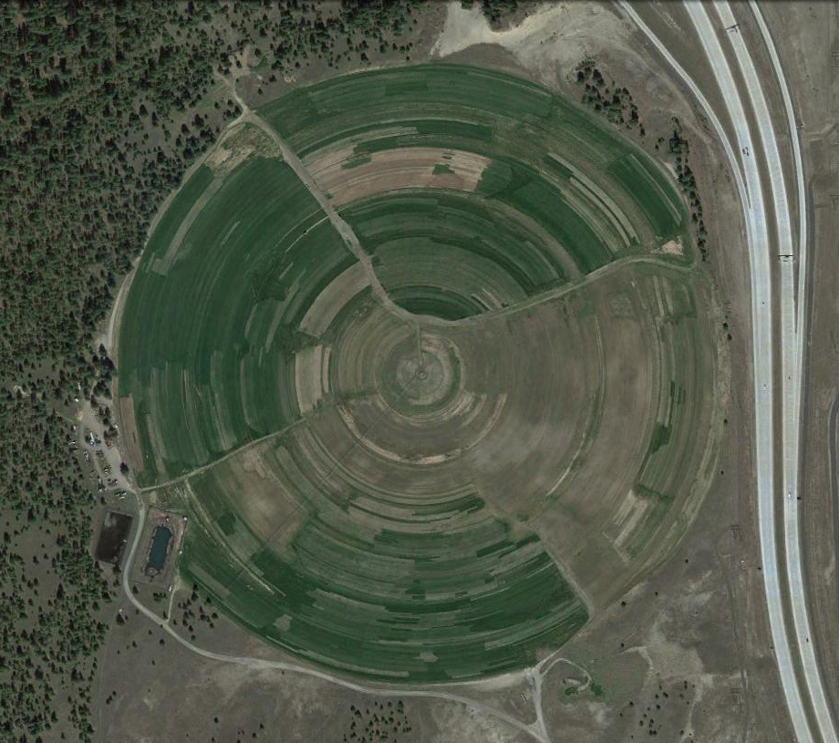 Sod is grown on farms like this one in North Spokane. Image © Google.