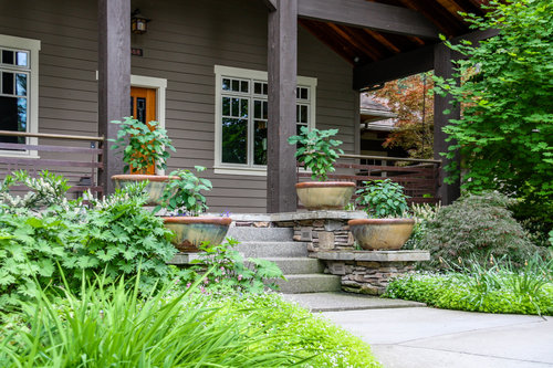 spokane craftsman front porch with container plantings