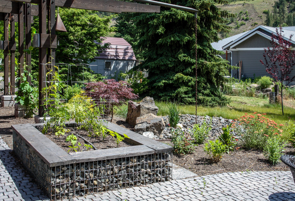 gabion raised vegetable bed and contemporary spokane landscaping