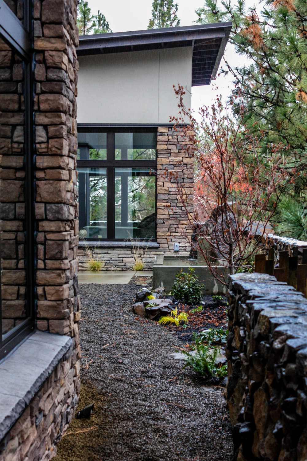 courtyard landscaping for south hill contemporary passive house