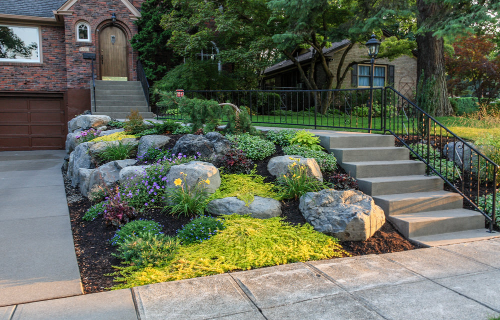 spokane south hill landscaping with rock outcroppings
