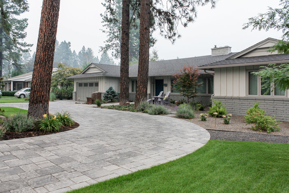 northwest landscape with paver driveway