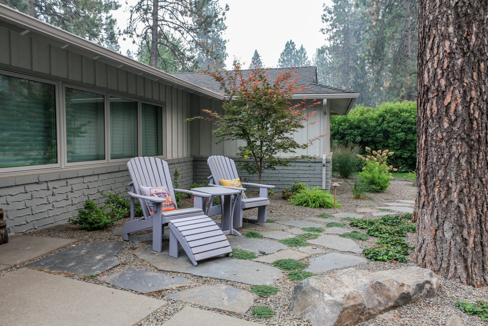 spokane flagstone patio with mid century modern landscape