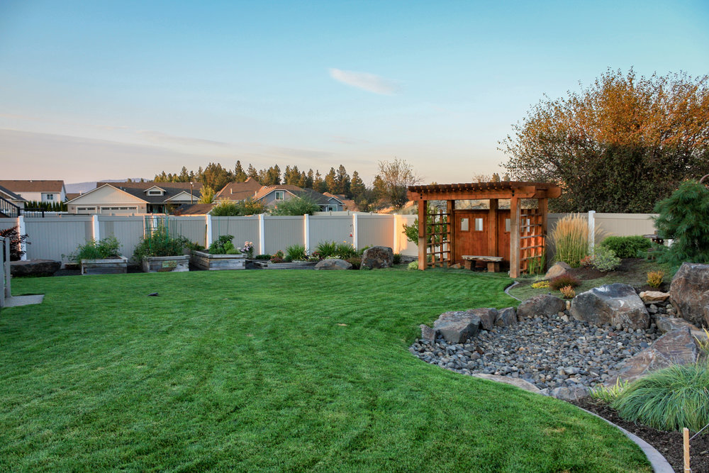 spokane valley landscaping with garden beds
