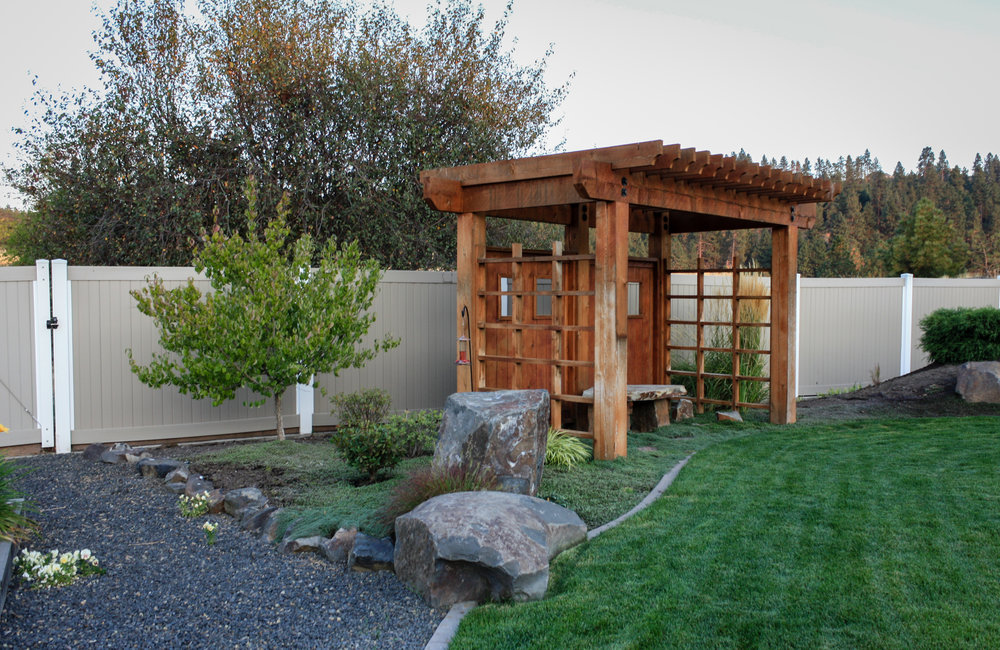 gravel pathway and timber pergola in spokane valley