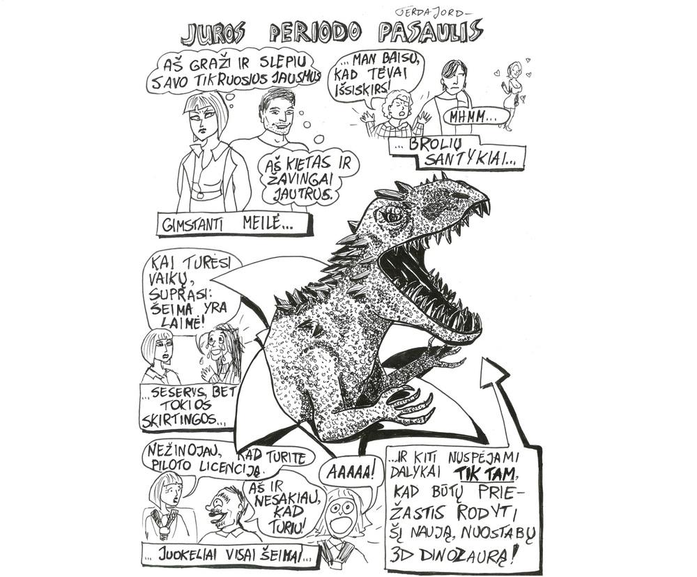"""Komiksas apie filmą""""Juros Periodo pasaulis"""" 2015 m. buvo publikuotas """"Kultūrpolyje"""", rubrikoje """"Kino komiksai"""". Daugiau kino komiksų:  http://www.kulturpolis.lt/category/komiksai/kino-komiksai/"""