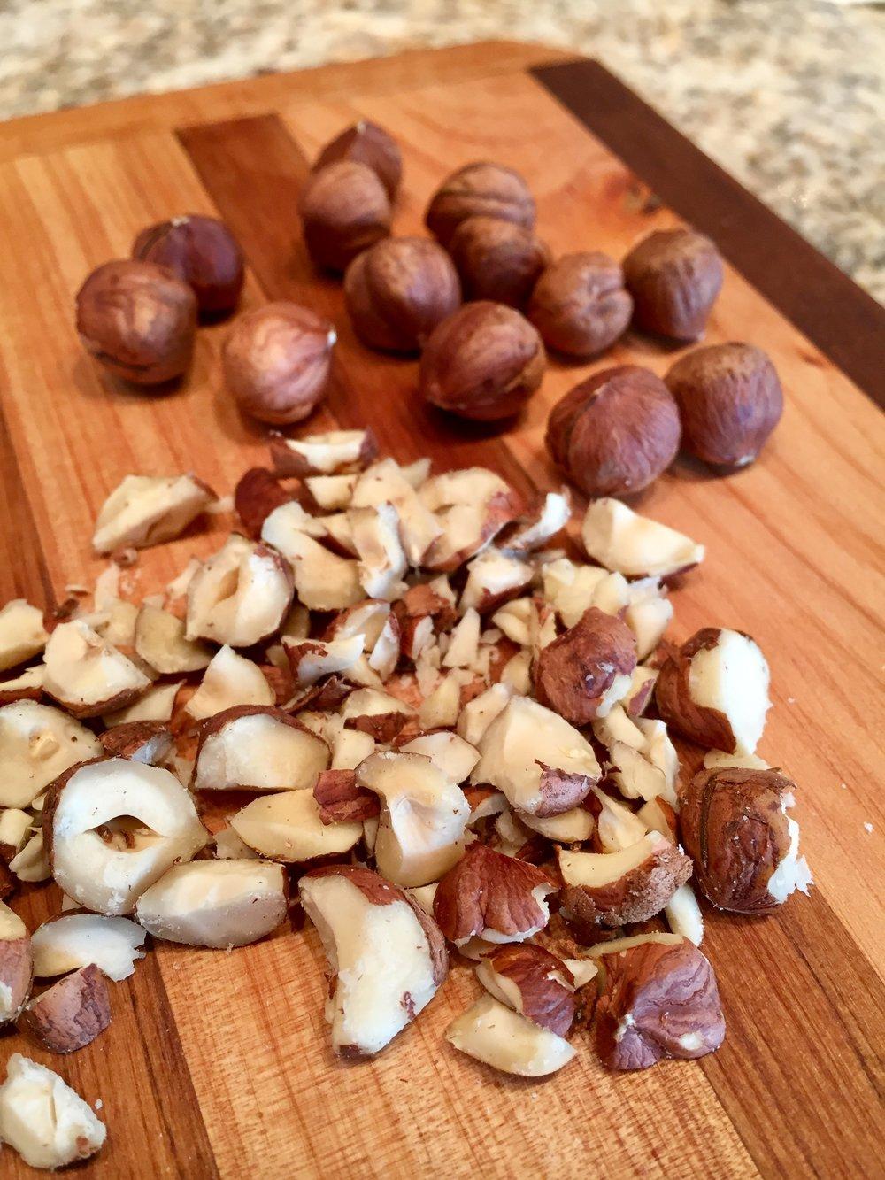 Step 5: Chop hazelnuts.