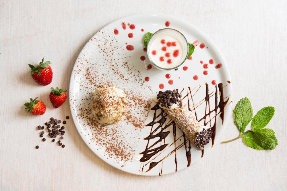 Dessert Trio - Cannoli, Tiramisu & Pannacotta