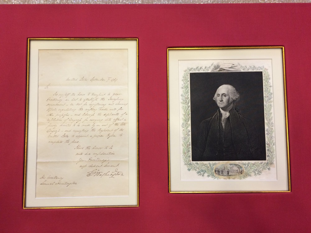 Expert Corporate Custom Framing, Art Handling and Hanging of an Original George Washington Letter