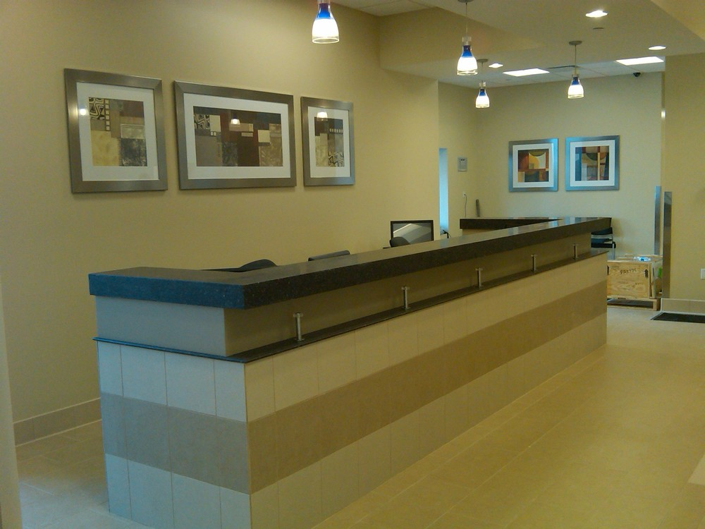 Coporate interiors and framing services in the reception area