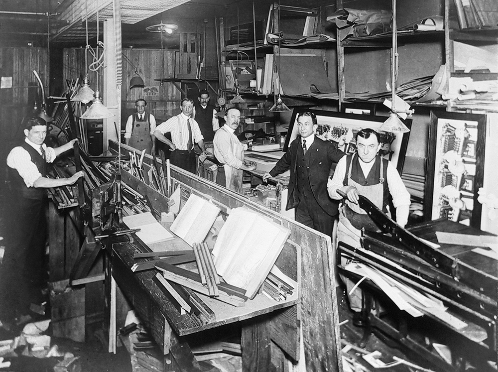 Classic photo of our business in the early 1900's where custom wood picture frames were being designed and assembled.