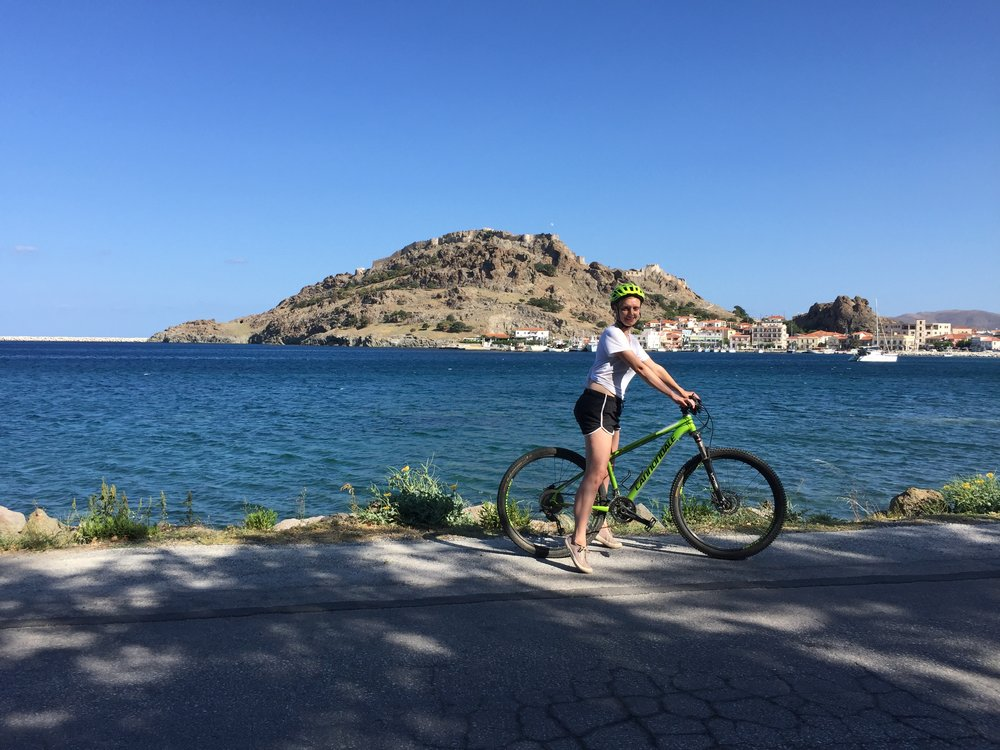 Cycling in Myrina gives you great views of Lemnos