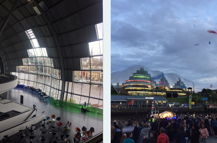 The Sage Gateshead at the Great Exhibition of the North opening evening (right).. ticker tape and fireworks all round!