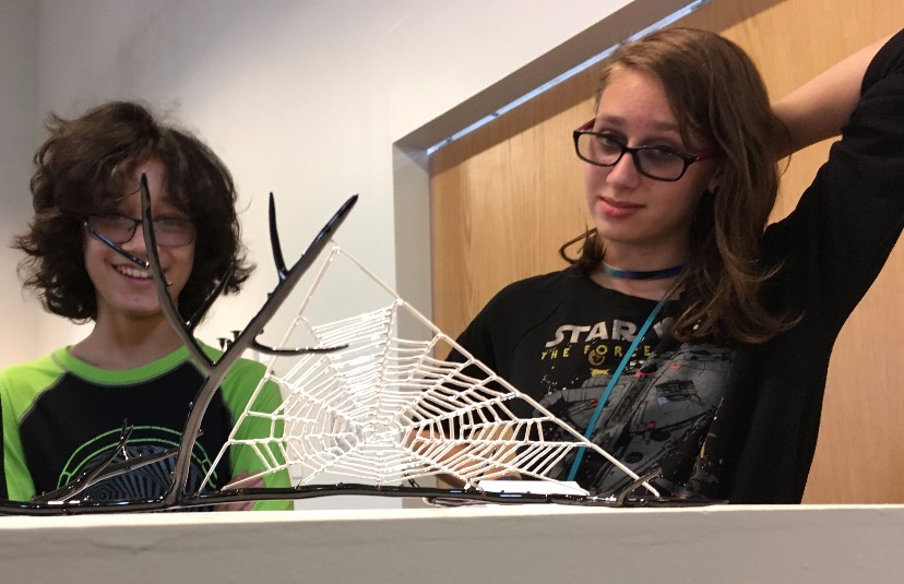 Art Appreciation's first class session took us to Glass Axis where we examined Kit Paulson's detailed and delicate sculptures. This spiderweb was crafted out of borosilicate glass!