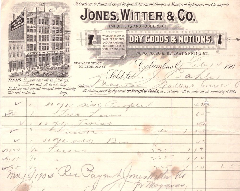 This is an invoice from Jones, Witter & Co from the early 1900s. The building pictured, located Spring Street, burned in a disastrous fire in 1894.