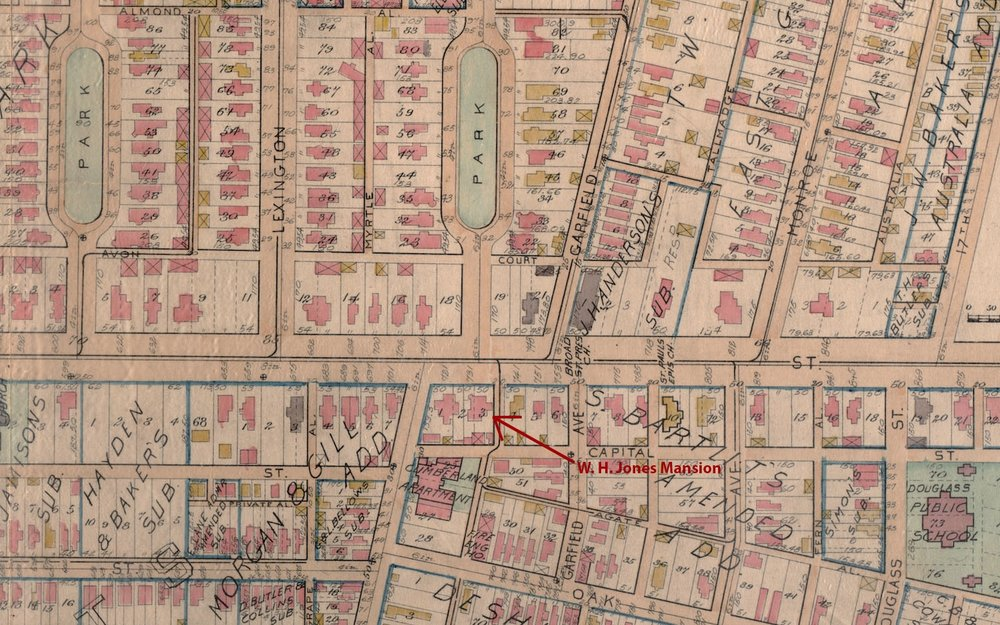 This map from 1899 shows the mansion and it's rear carriage house at  731 East Broad Street .