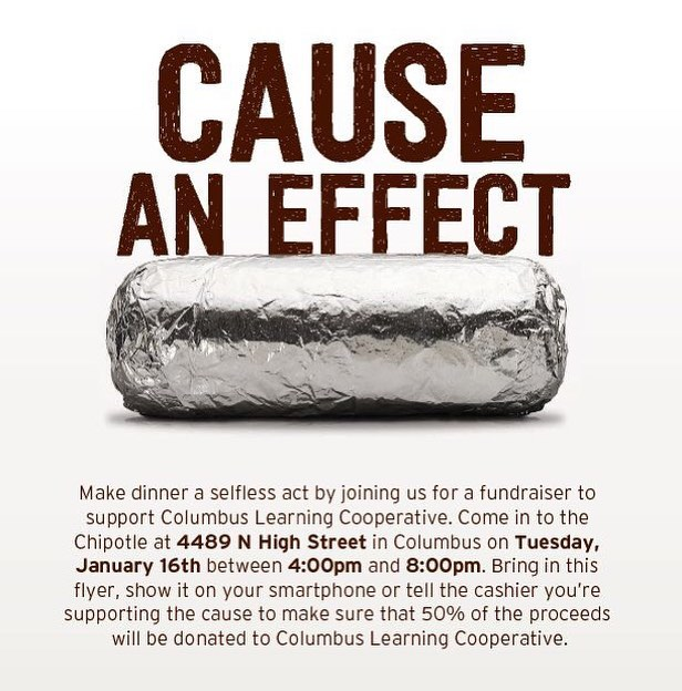 We're having a fundraiser at the Clintonville Chipotle on January 16th from 4-8- 4489 North High Street. Fifty percent of the proceeds of your purchase will go to helping local teens pursue their passions through self-directed learning!