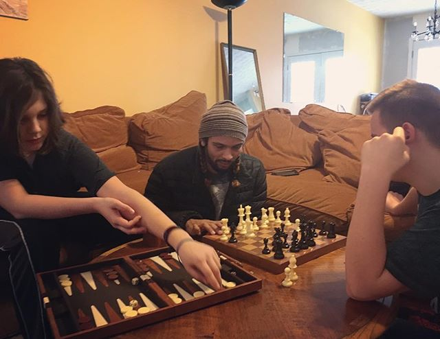 Backgammon and chess are a great way to start the morning!