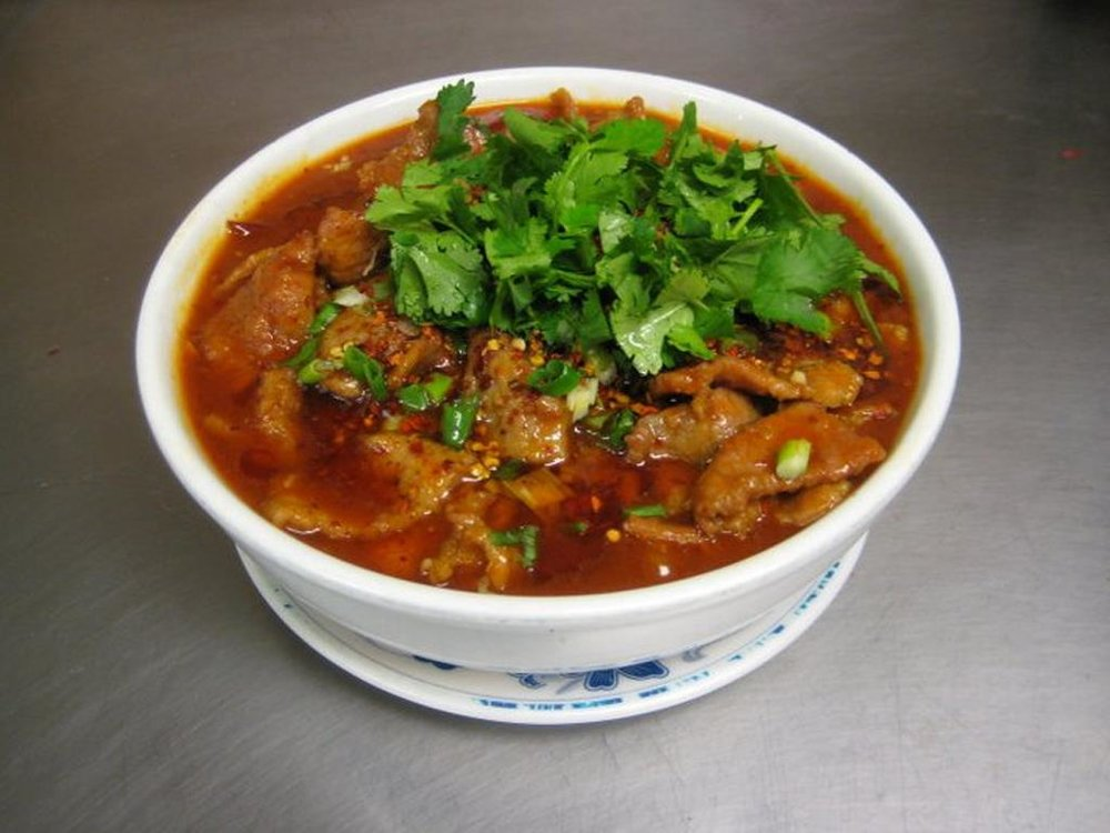 Sichuanese Boiled Beef    水煮牛 -  Sichuan spicy beef stew with Chinese cabbage, cilantro, Sichuan spicy seasoning
