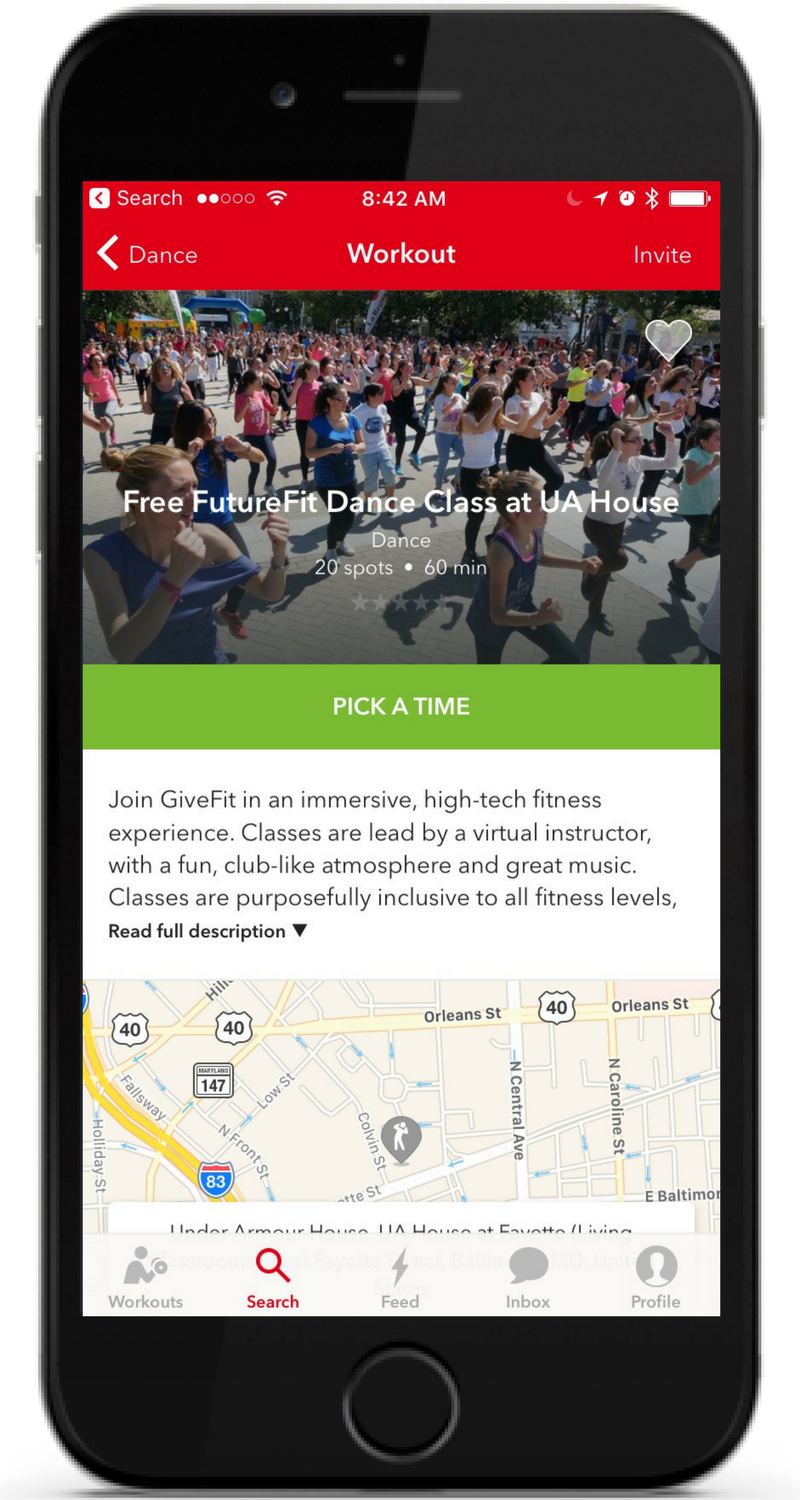 Share your community the power of #freefitness - Through our custom mobile app, available on both iOS and Android, your employees gain exclusive access to our curated free group fitness classes, proven to improve health and happiness!