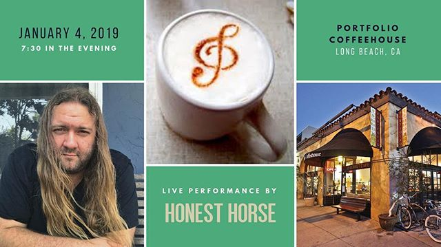 Going to be playing an hour long set at @portfoliocoffeehouse next Friday night at 7:30 PM! Come by and kick off the first weekend of the new year with yours truly and some excellent coffee! See you there! . . . . #4thstreetlb #livemusic #retrorow #visitlb #Thisislongbeach #portfoliocoffee #portfolioLB #singersongwriter #562 #indie #alternative #freeshow #honesthorse #longbeachca #longbeach #california #lbmusic #lbc #california