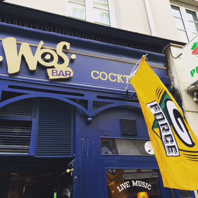 Green Bay Packers G-Force Flag displayed proudly outside WOS BAR in Paris, France