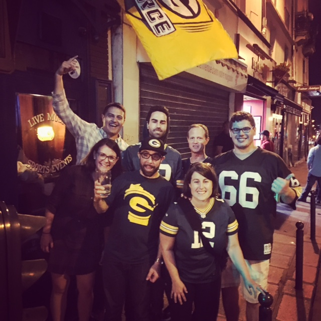 Post game photo with Packer Fans from Wisconsin and all points in between outside WOS Bar