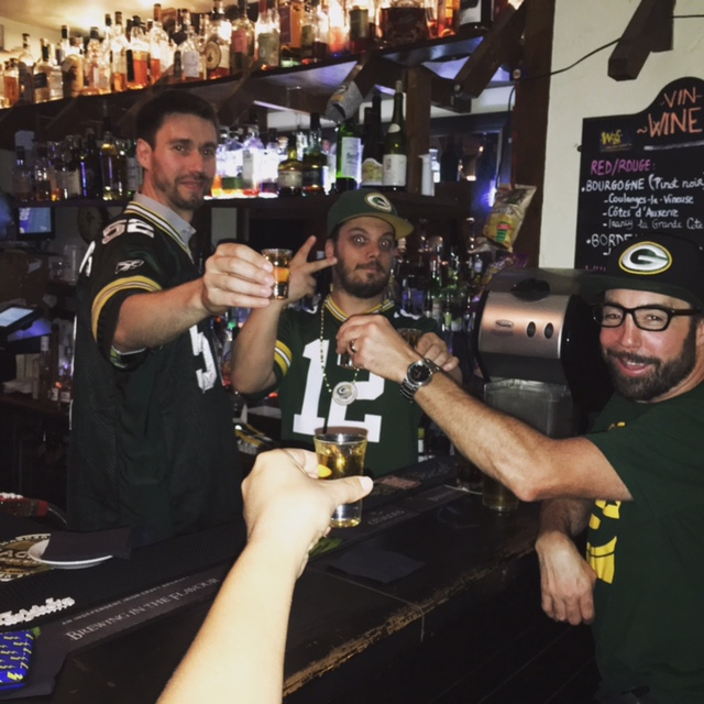 Post game victory shots at WOS Bar in Paris, France
