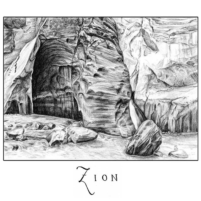 "I finished the drawing of Zion National Park!  This drawing was based on a photograph I took while hiking through a river in Zion last spring. It was probably the coolest hike I have done since we were really walking through thigh high water through sections and surrounded by impossibly tall canyon walls. I must admit though, a portion of the enjoyment was due to the invention of waterproof shoes and pants. It is a wonderfully weird experience to be in a river and not get wet or cold.  I'm glad I did this one in pencil. I've been doing a lot of ink drawings and it was nice to mix it up. I think the soft stone also works better in pencil. I am going to continue some more of these drawings for other places I've been.  Any thoughts on border vs. no border? (Also, I ended up leaving it saying ""Zion"" rather than ""Zion National Park"" which is what I originally intended because it turns out my capital N penmanship is pretty dreadful. I struggled for a long time trying to write a decent N until I decided that just ""Zion"" sounded great. One day, maybe, I will get a good N and I will scan it and save it forever to use in every word that needs an N.) • • • • •  #drawing #zionnationalpark #nationalpark #utah #canyon #drawing #graphite #illustration #illustree #landscape #landscapedrawing #hike #wanderlust #neverstopexploring #travel #nature #river #narrows #artoftheday"