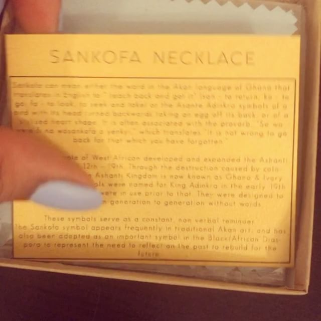 Our beautiful Sankofa necklaces going out to a lucky customer. ✨ Want one? Shoot us a DM. We only have 4 left! ✨