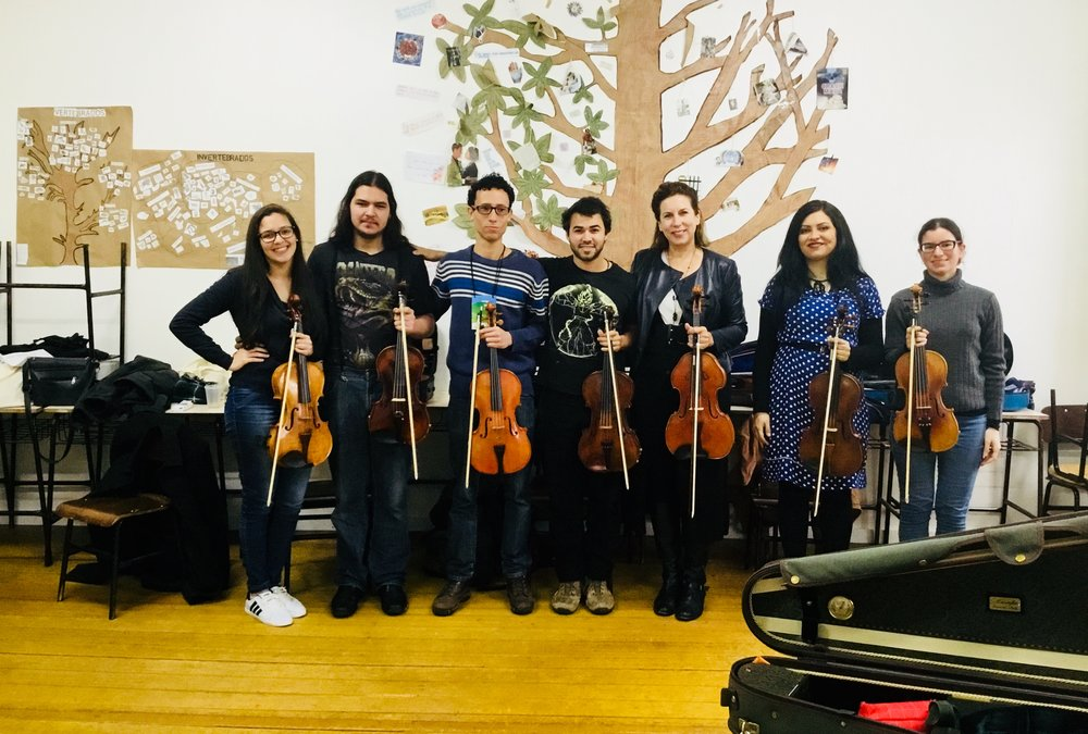 Brazil - Kate has been on the artist faculty of the Vale Veneto Music Festival in Brazil since 2010-here she is with some of the talented violists at the 2018 Festival.