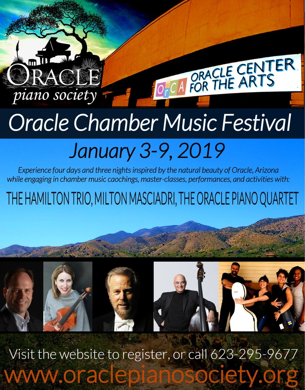 Arizona - Kate is excited to be part of the inaugural Oracle Chamber Music Festival sponsored by the Oracle Piano SocietyHigh school and university students from major music schools in the US are enrolled!