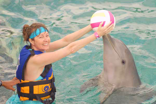 Playing with the dolphins, Isla Mujeres