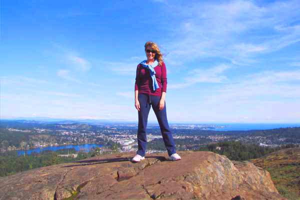 After climbing to the top of Mount Wells, Victoria, British Columbia