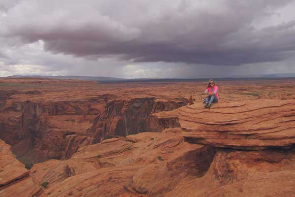 Just before we ran from the approaching storm, Horseshoe Bend, Arizona, USA